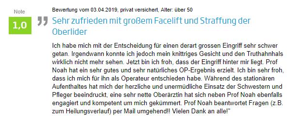 Facelift Erfahrung bei Prof. Noah in Kassel